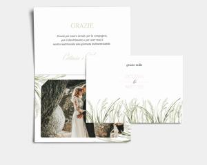 Erba della Pampas - Biglietto di ringraziamento matrimonio con le foto