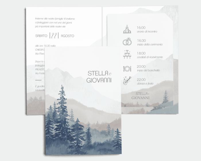 Painted Mountains - Partecipazione matrimonio con bigliettino