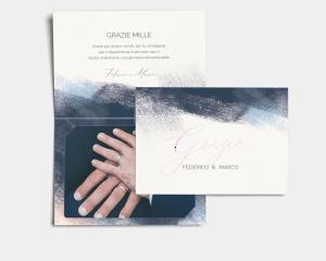 Modern Brushstroke - Biglietto di ringraziamento matrimonio con le foto