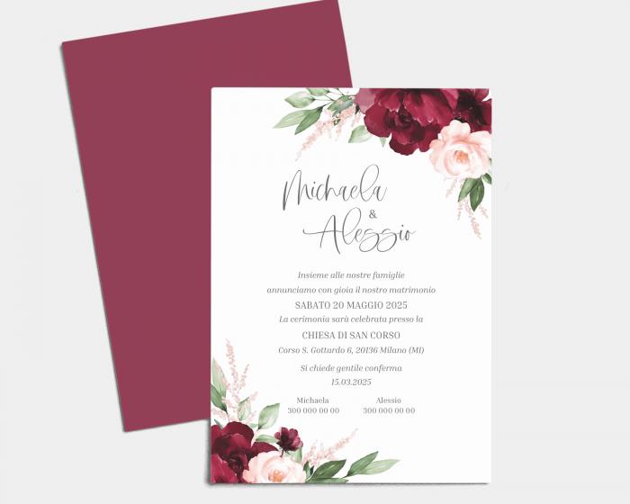 Beloved Floral - Partecipazione matrimonio A5 (verticale)