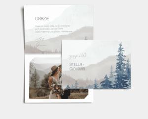 Painted Mountains - Biglietto di ringraziamento matrimonio con le foto