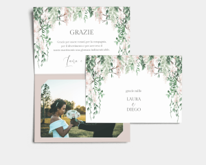 Romantic Wisteria - Biglietto di ringraziamento matrimonio con le foto