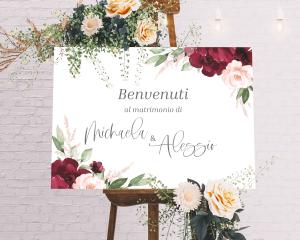 Beloved Floral - Cartello di benvenuto (orizzontale)
