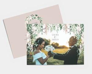 Romantic Wisteria - Biglietto di ringraziamento matrimonio