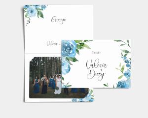 Blue Romance - Biglietto di ringraziamento matrimonio con le foto