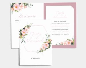 Fiore - Partecipazione matrimonio con bigliettino