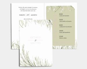 Erba della Pampas - Partecipazione matrimonio con bigliettino